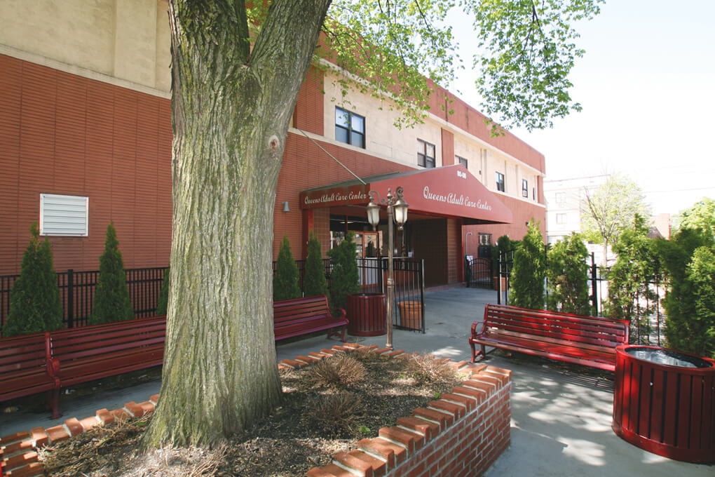 An exterior photo of Queens Adult Care Center.